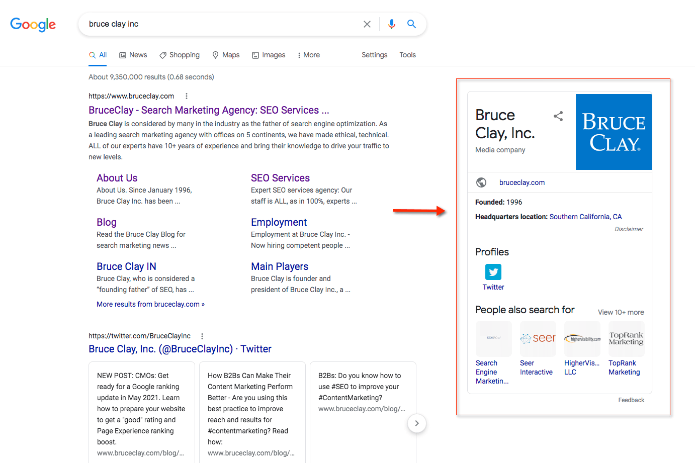 A Google SERP knowledge panel of Bruce Clay Inc.