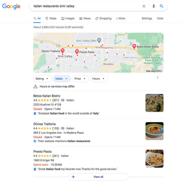 Google local pack example displaying local results for Italian restaurants in Simi Valley, California.