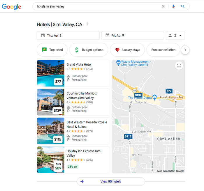 Local teaser example showing results for hotels in Simi Valley, California.