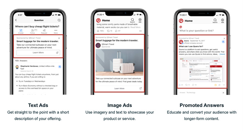 Jenis iklan asli Quora mencakup teks, gambar, atau jawaban yang dipromosikan.