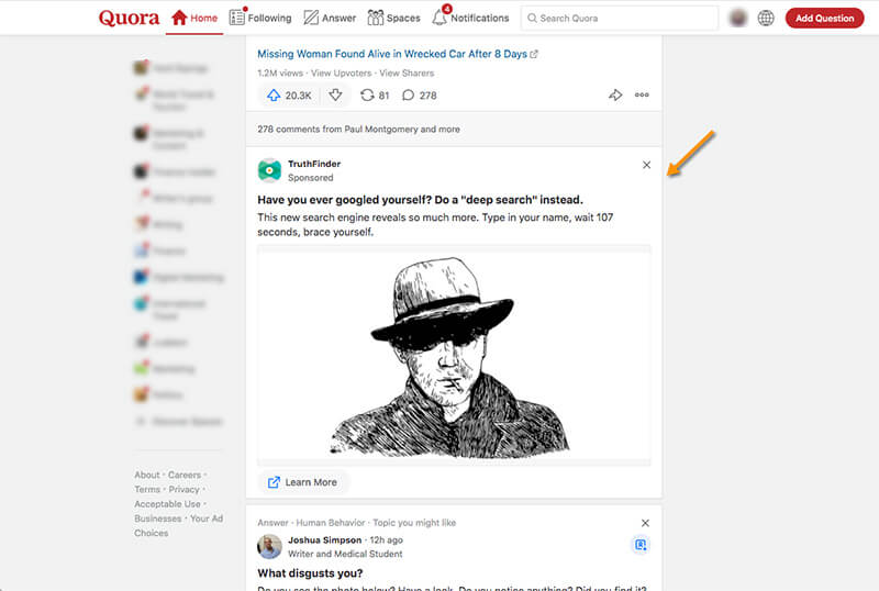 Tangkapan layar yang menampilkan iklan gambar asli di Quora.