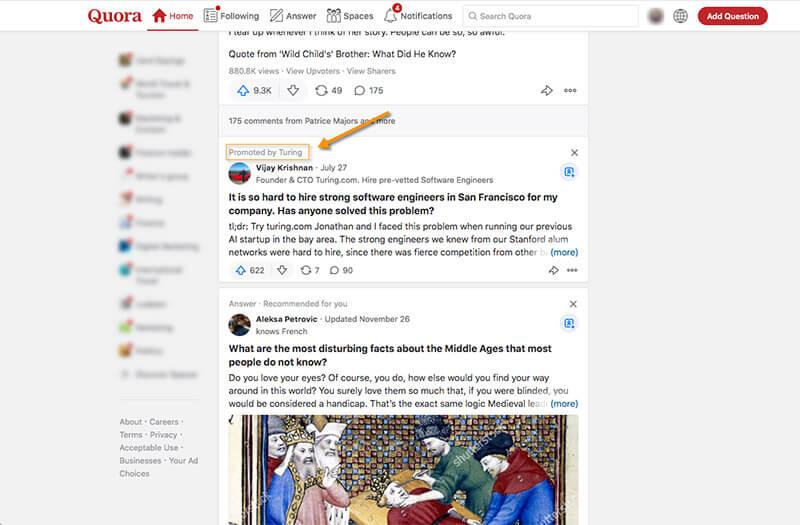 Tangkapan layar yang menunjukkan jawaban yang dipromosikan di umpan Quora.
