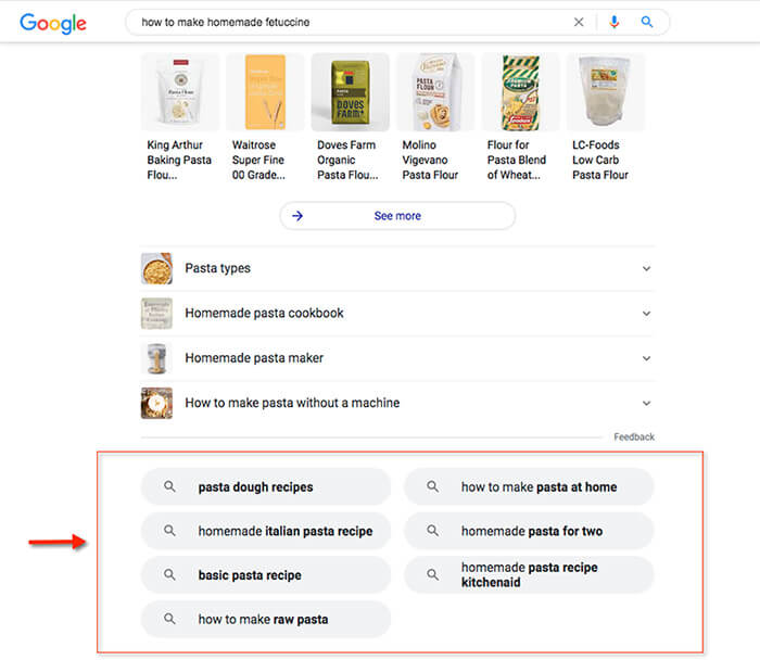 """Related search results section for the query """"how to make homemade fettuccine."""""""