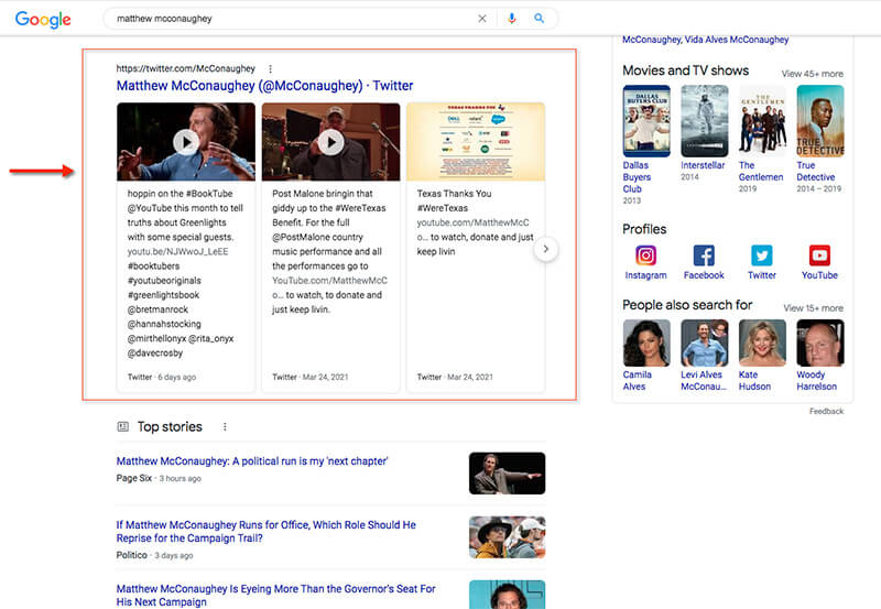 """Twitter results displayed for the query """"Matthew McConaughey."""""""