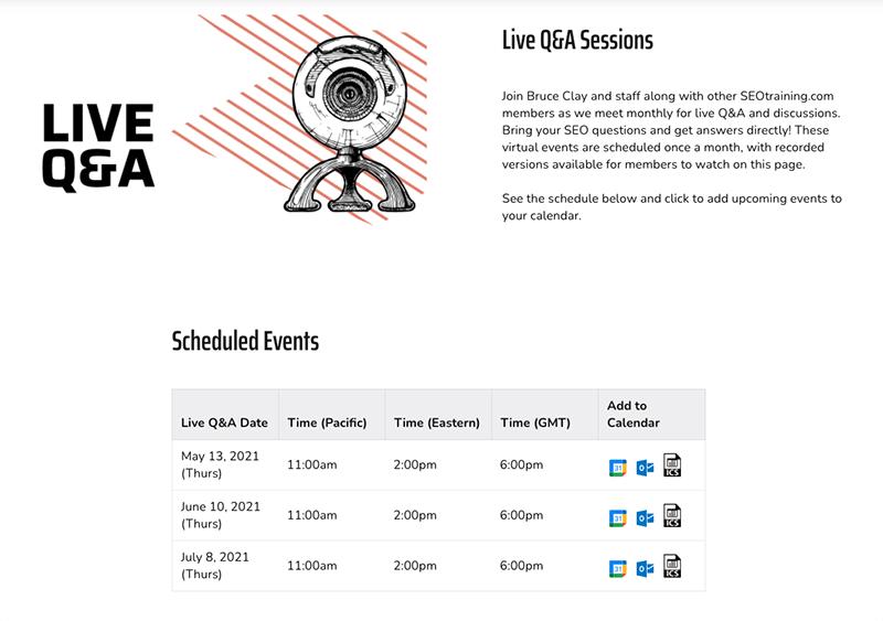 Live Q&A session schedule at SEOtraining.com.