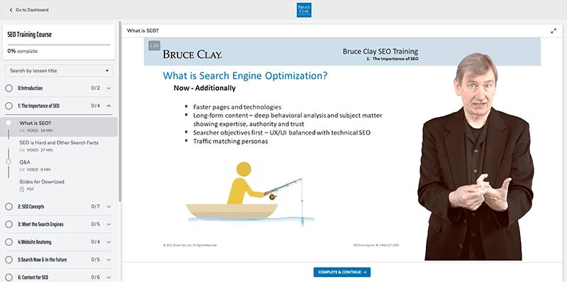 Screenshot of the Bruce Clay SEO Training course at SEOtraining.com.
