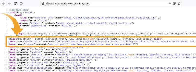 Ảnh chụp màn hình mã HTML cho trang chủ BruceClay.com.