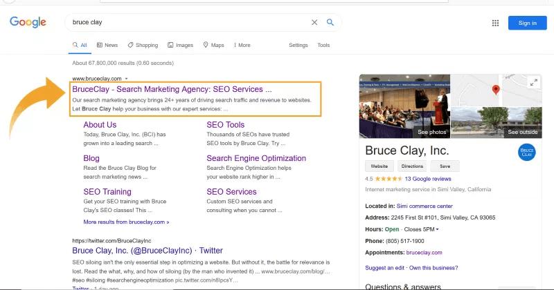 Danh sách kết quả của công cụ tìm kiếm cho trang chủ BruceClay.com.